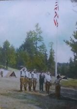 Guard Mount, Boy Scouts at Camp Custer, Montana,Magic Lantern Glass Photo Slide