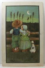 POSTCARD Birthday Wishes; Boy, Girl, Dog, Fence, Moon; C. W. Faulkner; Posted