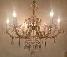 Beautiful antique 6 arm leaded crystal chandelier