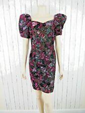 New listing Vintage 80s 90s Black Floral Velvet Mini Short Dress Puffy Sleeves Small S