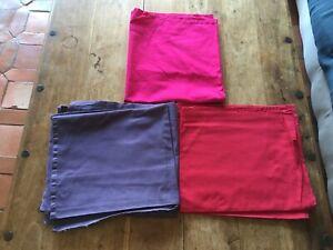 lot 5 coupons en coton violet fushia rouge