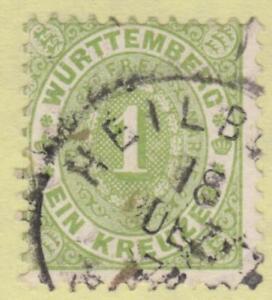 Wurttemberg #54 used 1kr 1874 pf 11½x11 cv $40