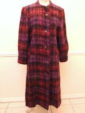 New listing Vintage George David Fashions Mohair Fuschia Purple Plaid Button Long Coat Ilgwu