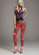 H&M VERSACE JEANS RED TWILL TROUSERS TROPICAL PALM PRINT UK 8 EUR 34