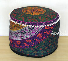 "18"" Round Pouf Ottoman Cover Multicolored Mandala Foot Stool Pouf Covers Throw"