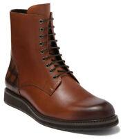 Robert Graham Darrow Men's Leather Lace Up Ankle Boots Cognac Brown Size 10.5