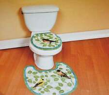 2pc SONG BIRD TOILET SEAT COVER & SURROUND AREA RUG Nice