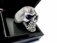 Black Diamond Skull Ring With Blue Sapphire Eyes Limited Edition
