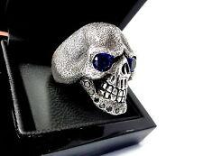 Men's Sandman Silver Skull  Ring With Black Diamonds & Sapphires Limited Edition