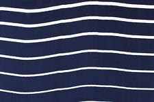 Raso di seta blu navy a righe bianche STOFFA AL METRO TESSUTO A METRAGGIO