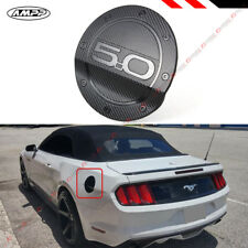 For 15-17 Ford Mustang 5.0 Carbon Fiber Texture Add-on Gas Fuel Door Cover Cap
