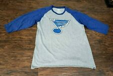 New Mens '47 Brand St. Louis Blues 3/4 Length Raglan Shirt Size Extra Large XL