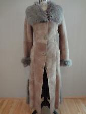 FARACCI Genuine Shearling Suede Fur Long Coat BRAND NEW