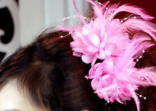 BE pink Feather Lotus clip brooches Hair Wrist flower party Wedding baby dancing