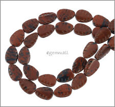 "16"" Mahogany Obsidian Carved Pear Leaf Beads 12mm 89029"