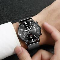 Herrenmode Uhr Business Edelstahl Datum Sport Analog Quarz Armbanduhr