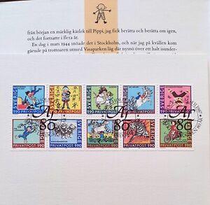 Astrid Lindgren Stamps 1987 from Sweden: Full Block of Children's Stories Stamp