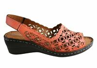 NEW ORIZONTE STELLA WOMENS EUROPEAN COMFORTABLE LEATHER WEDGE SANDALS