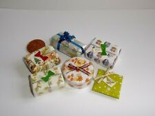 DOLLS HOUSE MINIATURE CHRISTMAS DECORATION WRAPPED CHRISTMAS PRESENT PACK OF 6