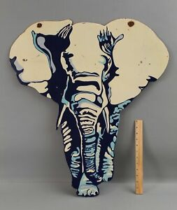 RARE Large Antique Porcelain Enamel Elephant Advertising Graphic 2-Sided Sign