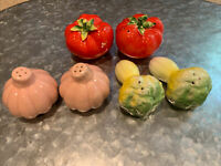 3 Pairs Antique Fruit/Vegetable Salt & Pepper Shakers — Tomatoes, Garlic, Celery