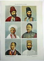The Yellow Races of Asia - Original 1902 Stone Chromo-Lithograph by Julius Bien