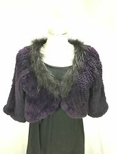 FASHIONABLE AWESOME PURPLE MINK HAND KNITTED LADY CROPPED FUR CAPE  FREE SHIPG
