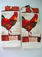 "2 Lot MATCHING ROOSTER KITCHEN TOWELS country designs HEAVIER WEIGHT 15"" x 25"""