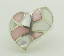 of Pearl Heart Band Ring 5.5 Solid Sterling Silver/925 Pink and White Mother