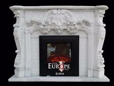 BEAUTIFUL HAND CARVED MARBLE  EUROPEAN DESIGN FLOWER FIREPLACE MANTEL - JX1