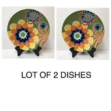 LOT 2 Pier 1 Retro Flower Dish Bowls Plates Ironstone Retired Multicolor Floral