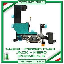 PER IPHONE 5S FLAT FLEX DOCK RICARICA LIGHTNING USB MICROFONO JACK AUDIO - NERO
