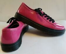 "Dr Doc Martens ""Spin"" Low Top Oxfords Hot pink Patent Leather 6 Eye Womens US 11"
