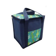 Insulated Picnic Cool Bag Zipped With Handles Blue Cactus Design 12 Litre NEW