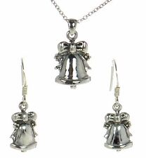 Solid 925 Sterling Silver Christmas Bell Necklace and Earrings Set '