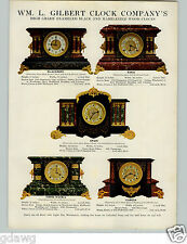 1905 PAPER AD Wm L Gilbert Clock Company Enameled Black Marbleized Wood COLOR