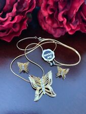 Butterfly Necklace & Stud Earrings Set Nwt Yellow Gold Filled Crystal Rhinestone