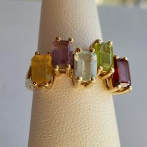 10K Yellow Gold Ring with Garnet, Peridot, Topaz, Amethyst, and Citrine - Size 6