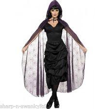 Femmes Halloween Noir Toile D'Araignée Cape Sorcière Costume Déguisement