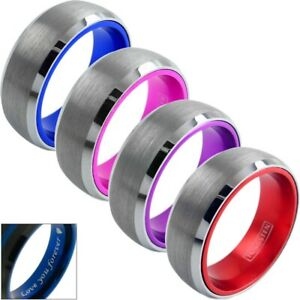 8mm Tungsten Men's Blue Pink Purple or Red Inside Wedding Band Engraving Avail.