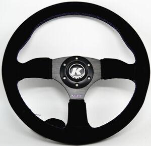 KODE-350mm Half Dish Suede Steering Wheel Purple Stitch Fit 6x70mm PCD Boss Kit