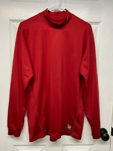 Nike Pro Combat Men's DRI-FIT L/S Fitted Mock Neck Shirt Top: XL, Red, Logo