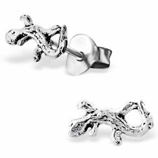 925 Sterling Silver Lizard Gecko Reptile Quirky Stud Earrings & Gift Box #2