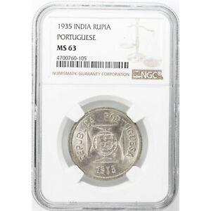 INDIA - PORTUGUESE , 1 RUPIA 1935  NGC MS 63  ,  RARE