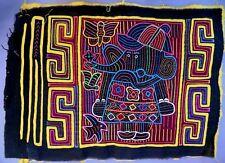 "ELEPHANT & HUMAN ""S"" MOTIF GUNA CULTURE MOLA ART TEXTILE ETHNOGRAPHIC PANEL ETH"