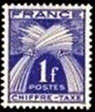 "FRANCE STAMP TIMBRE TAXE N° 70 "" TYPE GERBES 1F BLEU-VIOLET "" NEUF xx TTB"