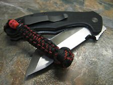 RED LINE NO CORE PARACORD KNIFE LANYARD MINI LANYARD KNOT W/ SKULL AMERICAN MADE