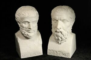 FREDERIC BLATT Originals - PLATO / ARISTOTLE Busts / Statues Greek Philosophers