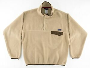 Patagonia Mens Medium Synchilla T Snap Fleece Pullover Tan Brown Fall 2011 F11
