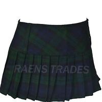 "Ladies 12"" Micro Mini Hipster Full Pleated Tartan Skirts Short Kilt"